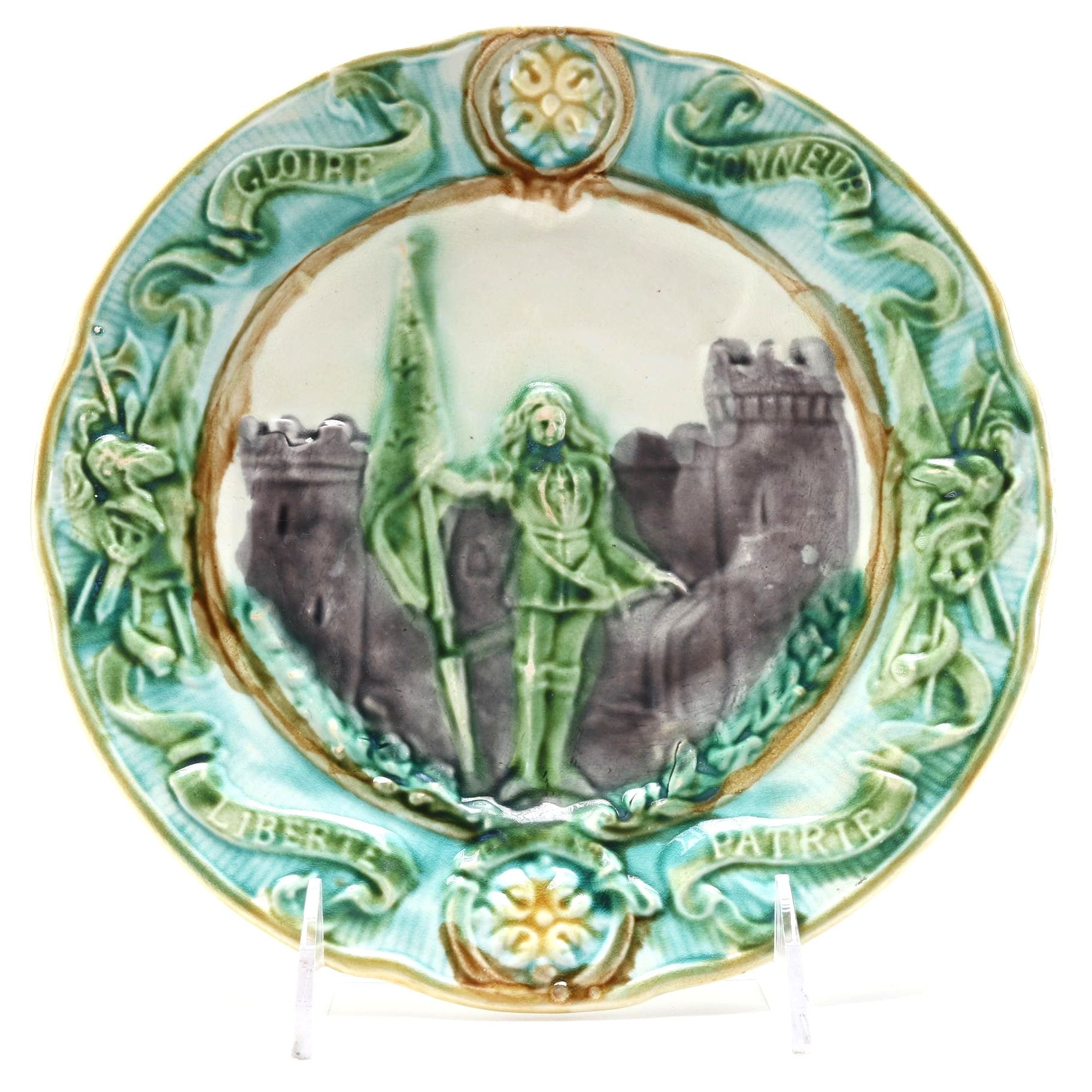 Joan Of Arc French Majolica Plate