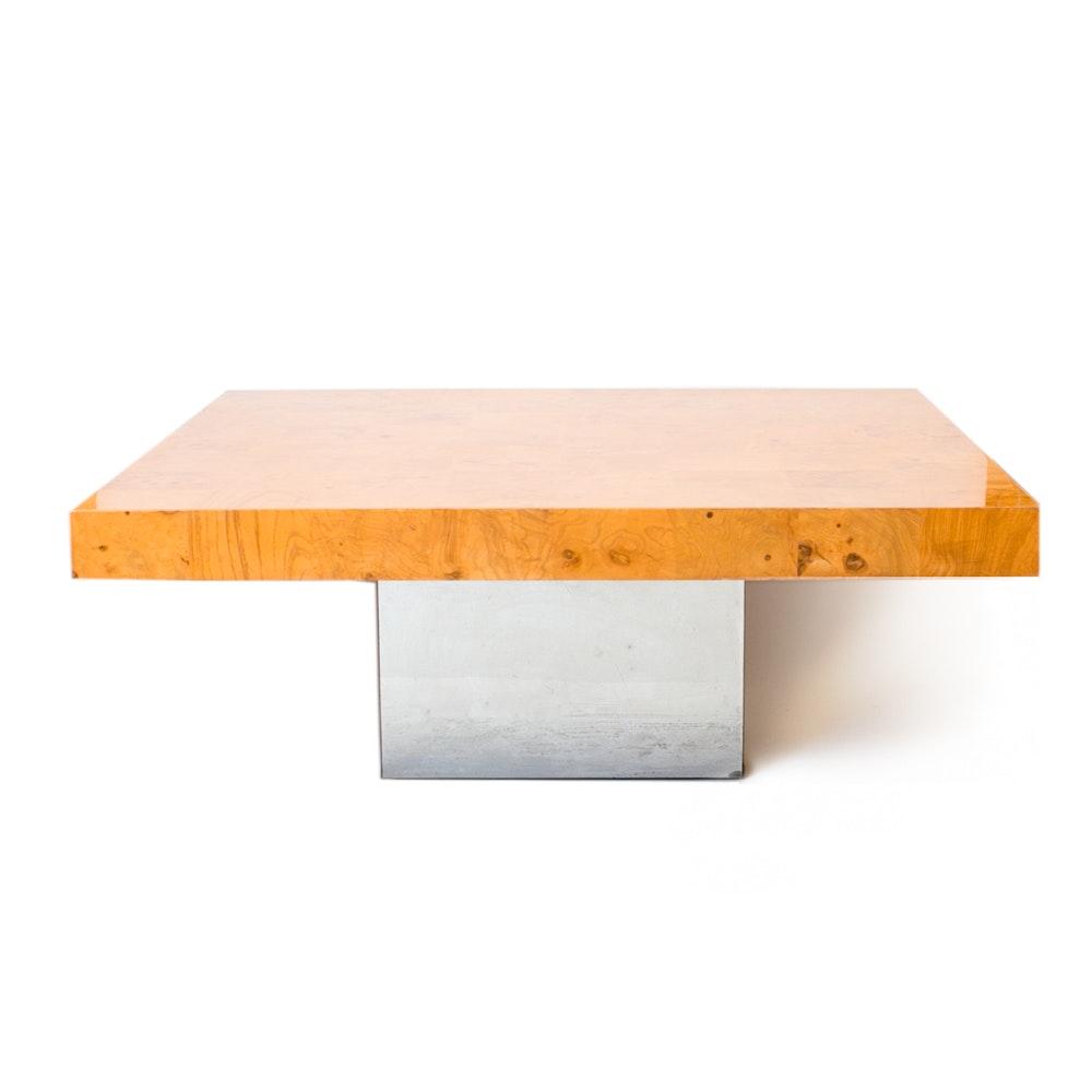 Retro Milo Baughman For Thayer Coggin Chrome Based Wooden Coffee Table ...