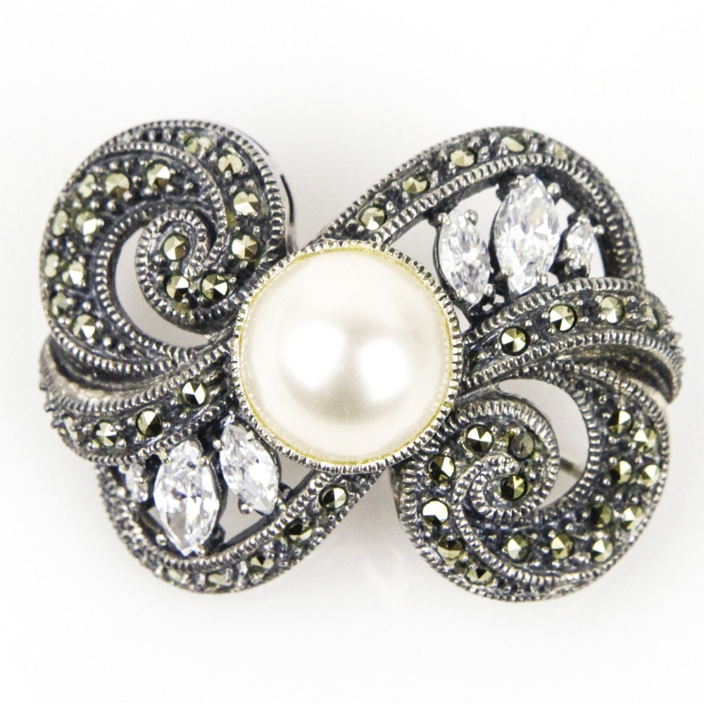 Judith Jack Deco Style Sterling Silver and Marcasite Brooch