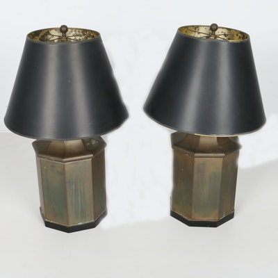 Pair of Chapman Octagonal Brass Lamps 1970s