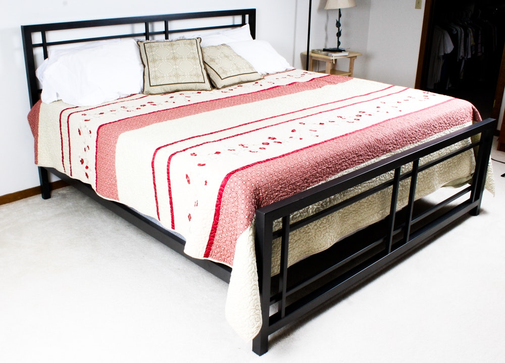 Grey  Metal Frame King Size Bed