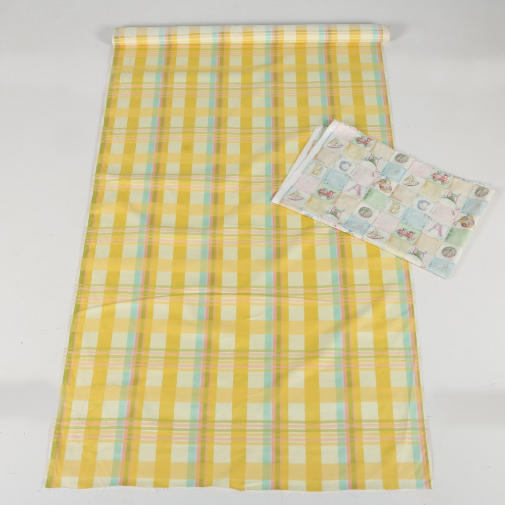 Two Cuts of Cotton Nursery and Plaid Fabrics