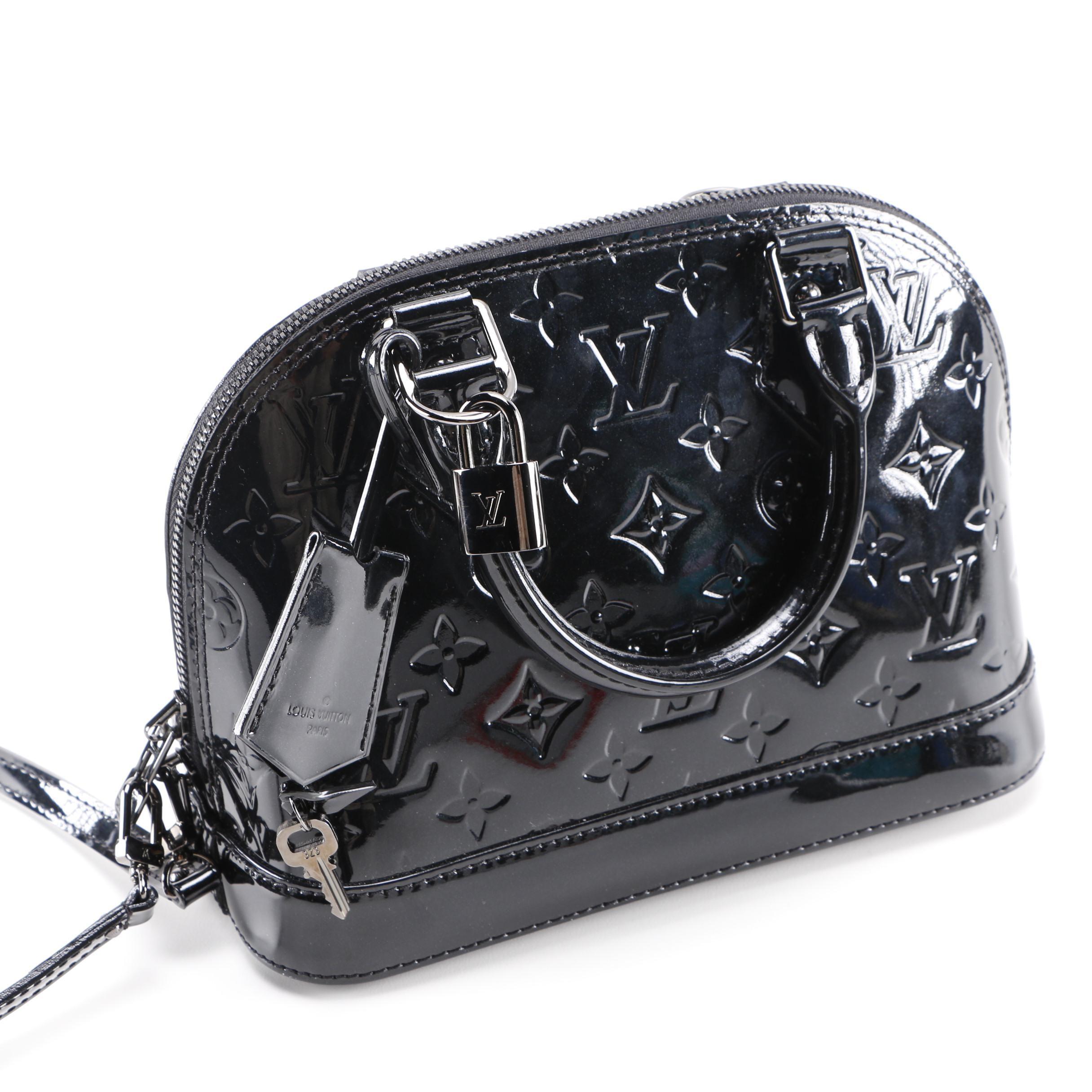 Louis Vuitton Alma BB Bag in Black Magnetique Vernis Leather