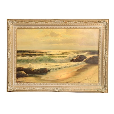 After Robert Wood Seascape Vintage Lithograph