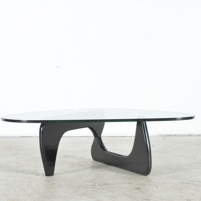 Noguchi Inspired Tribeca Glass-Top Coffee Table by Modway