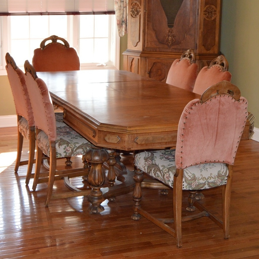 Vintage Eastlake Walnut Dining Table Set by H.E. Shaw : EBTH