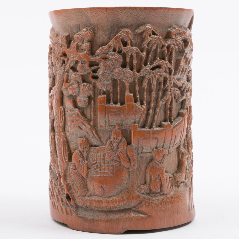 Chinese bamboo brush pot with deep relief carving ebth