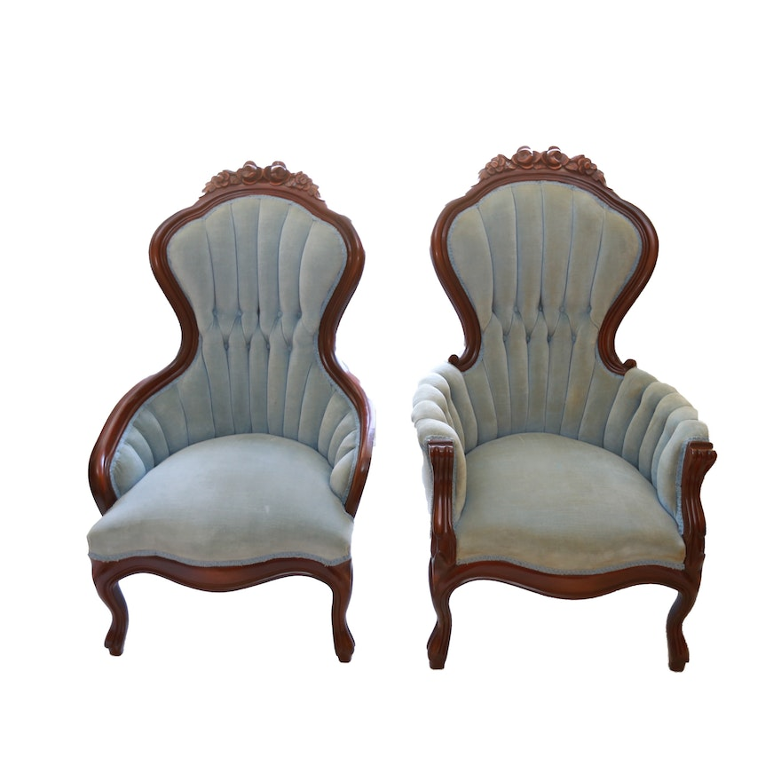 Mid 20th Century Victorian Style Tufted High Back Chairs