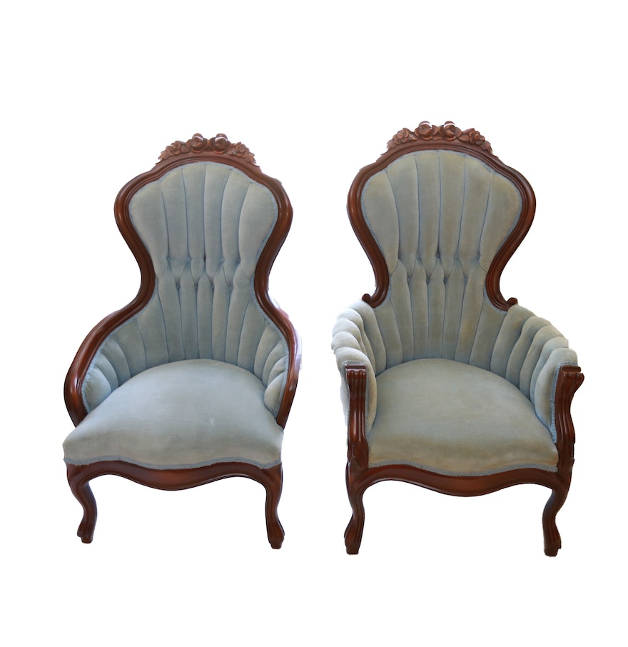 Victorian style chair - Mid 20th Century Victorian Style Tufted High Back Chairs