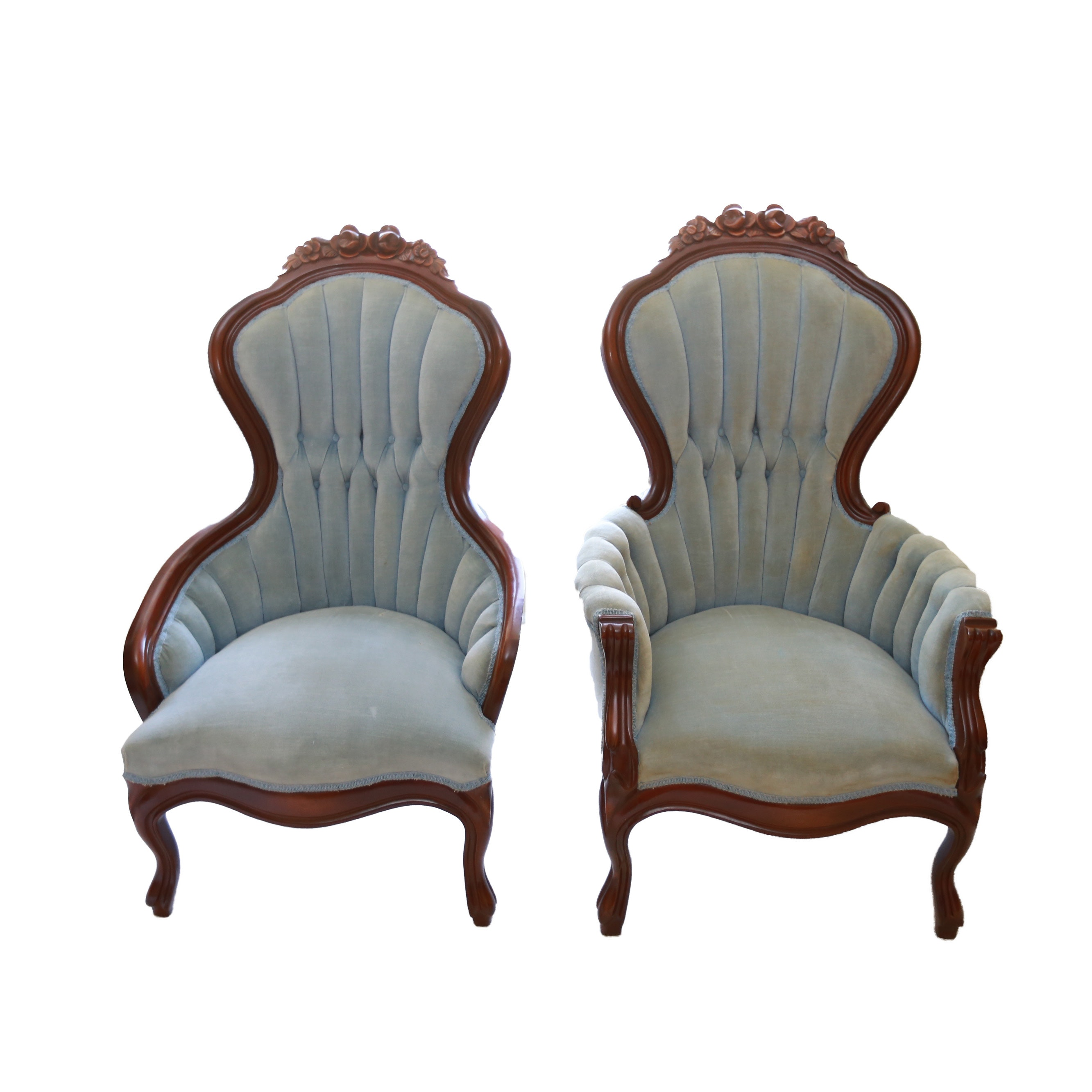 Delicieux Mid 20th Century Victorian Style Tufted High Back Chairs ...