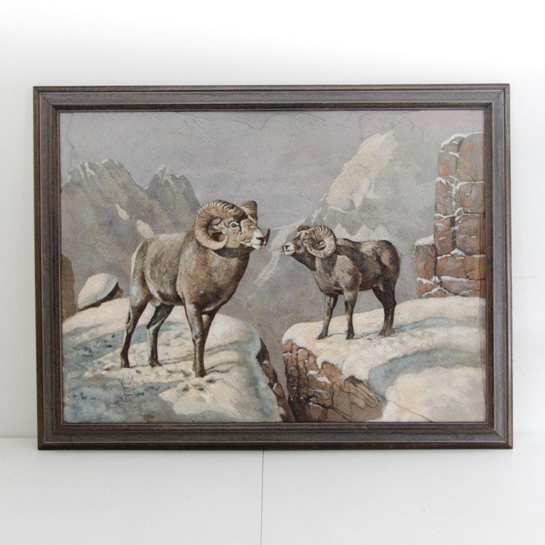 Original Kobus Möller Painting of Rams on Ridge