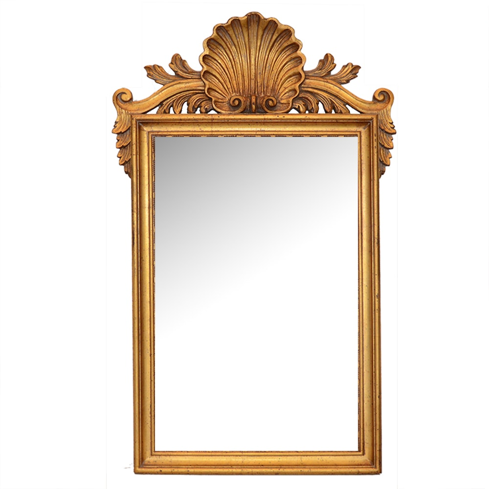 Carved Gilt Shell Motif Mirror