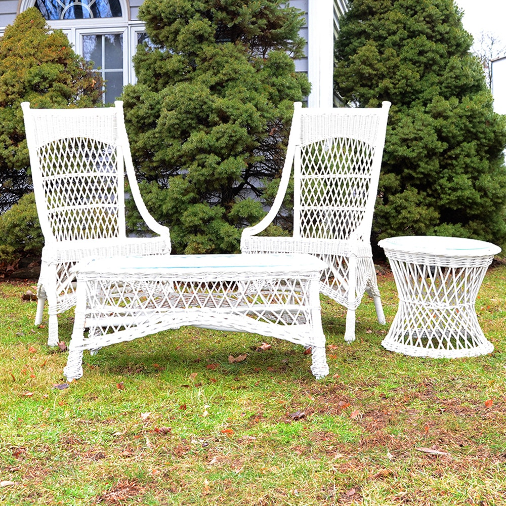 White Woven Wicker Set