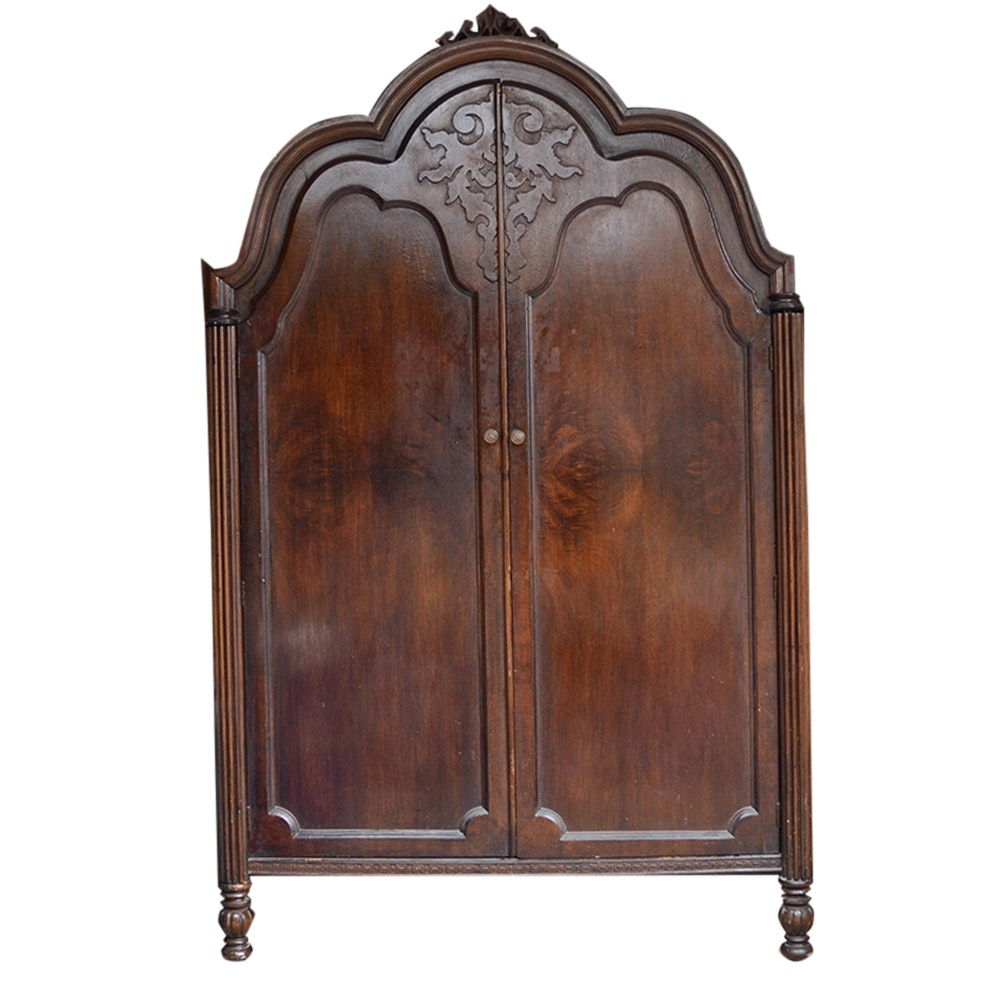 Antique Victorian Two Door Walnut Armoire