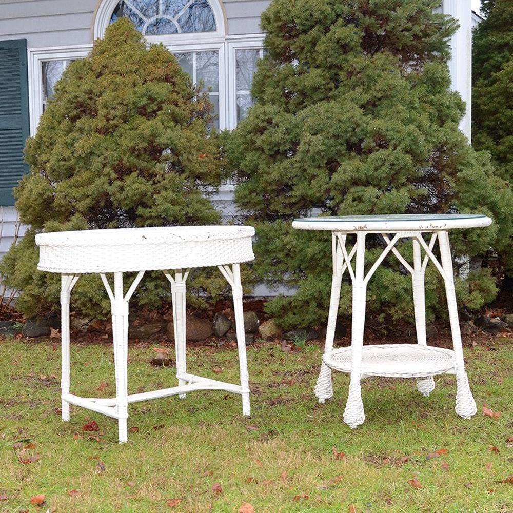 Vintage Woven Wicker Side Tables