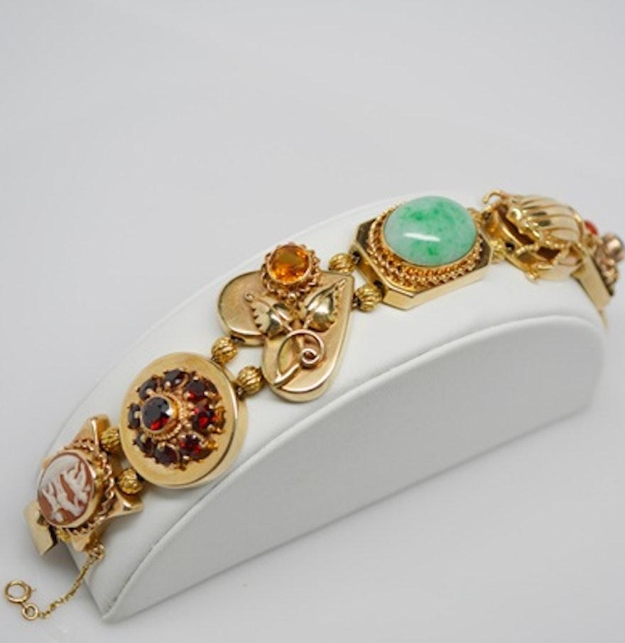 Vintage 14k Gold Charm Bracelet: Vintage Victorian Slide Style 14K Yellow Gold Charm