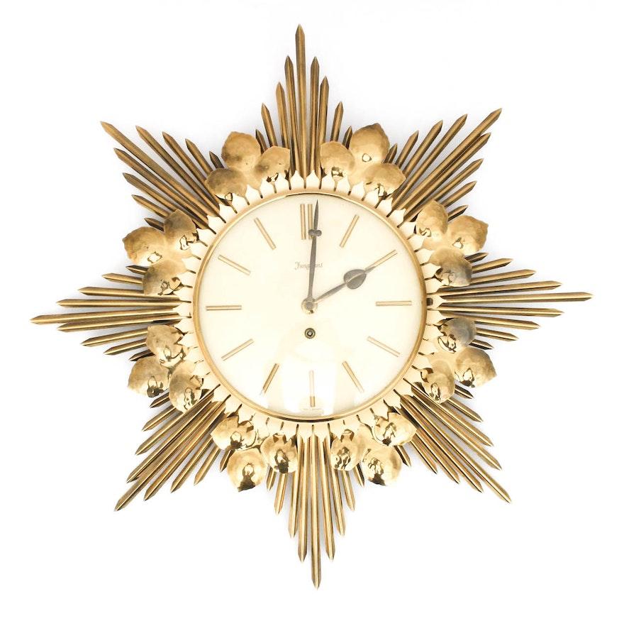 junghans midcentury key wind starburst wall clock  ebth - junghans midcentury key wind starburst wall clock