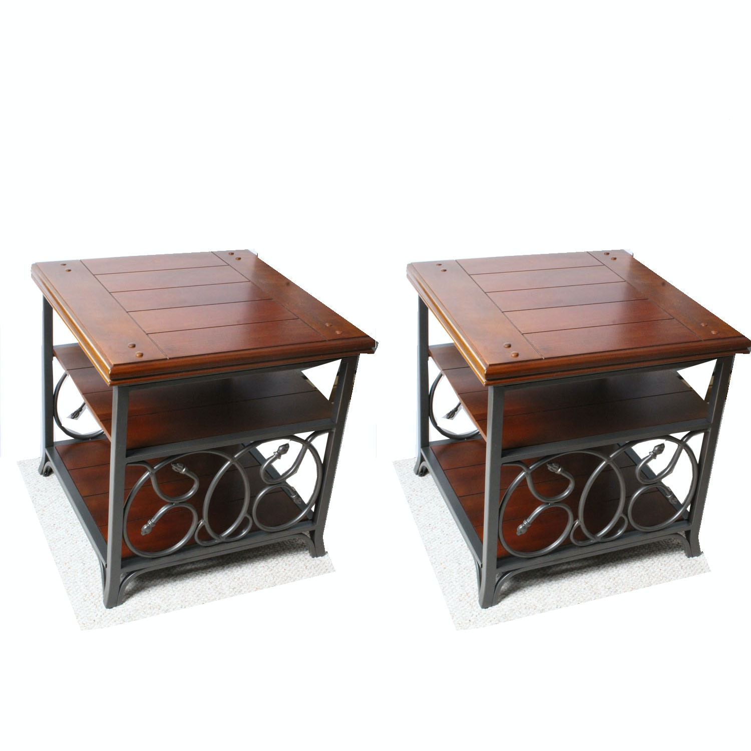 Contemporary Wood and Metal End Table Set