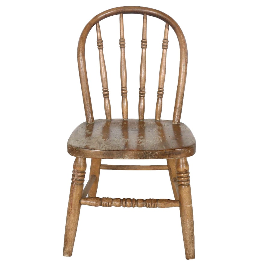 Child's Antique Oak Spindle Back Chair ... - Child's Antique Oak Spindle Back Chair : EBTH