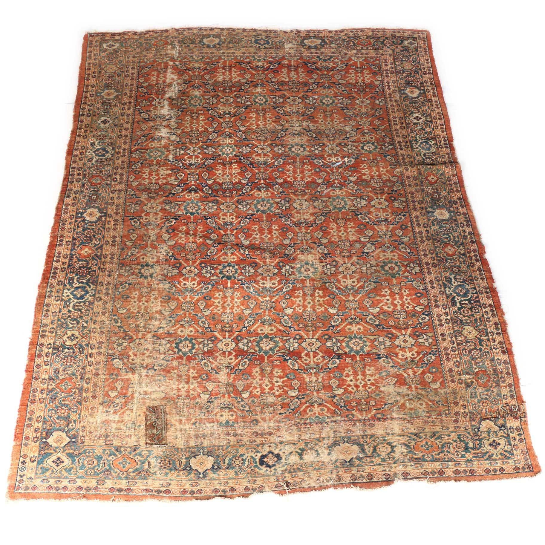 Semi-Antique Hand Knotted Tabriz Area Rug