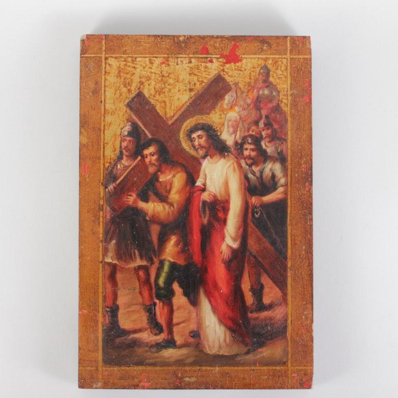 Carrying of the Cross Wood Panel Italian Florentine