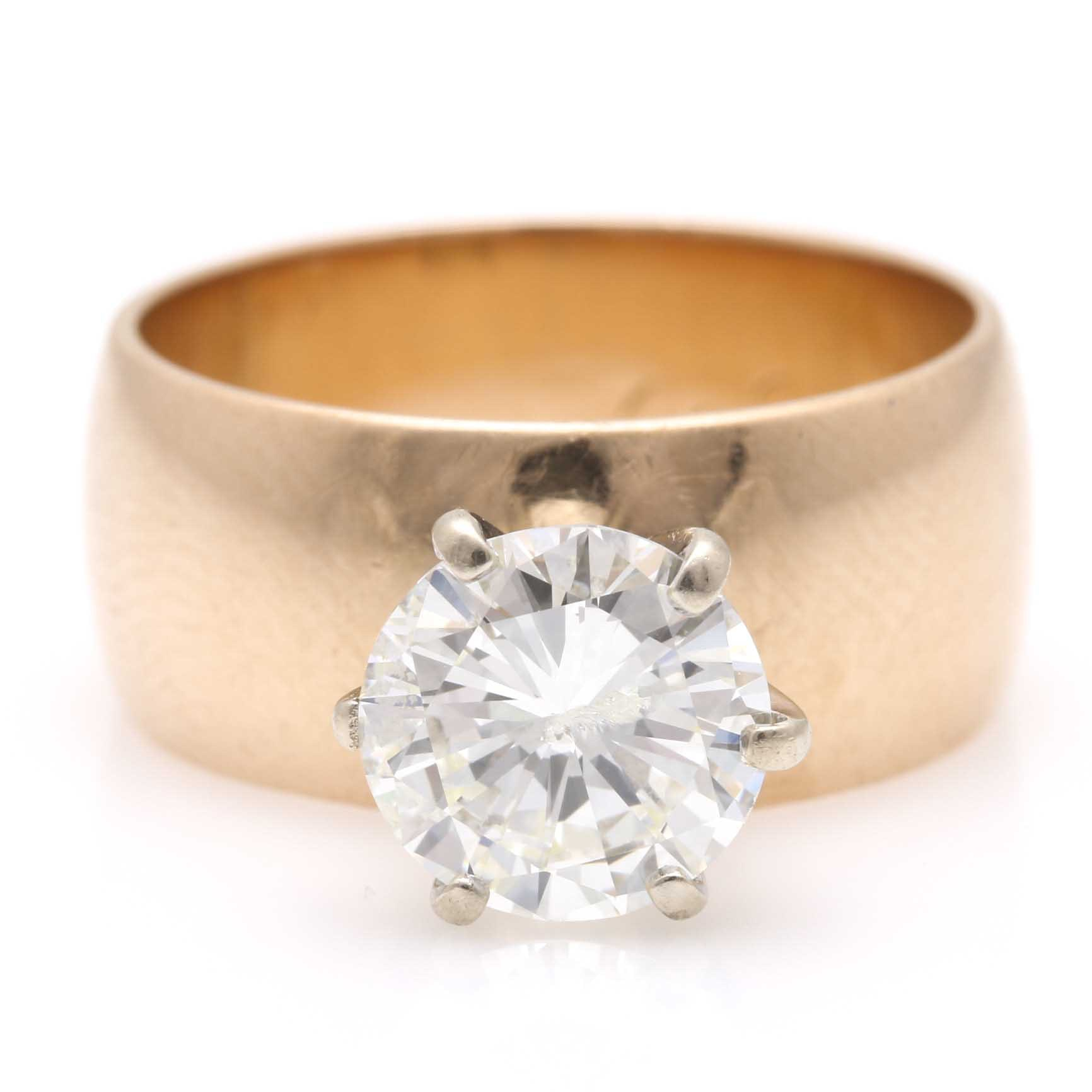 14K Yellow Gold 2.05 CTS Diamond Wedding Ring
