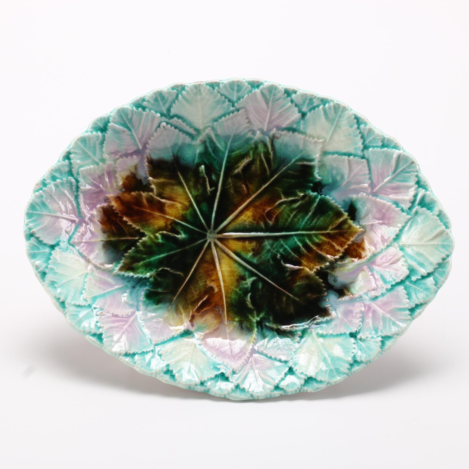 Majolica Leaf Serving Platter