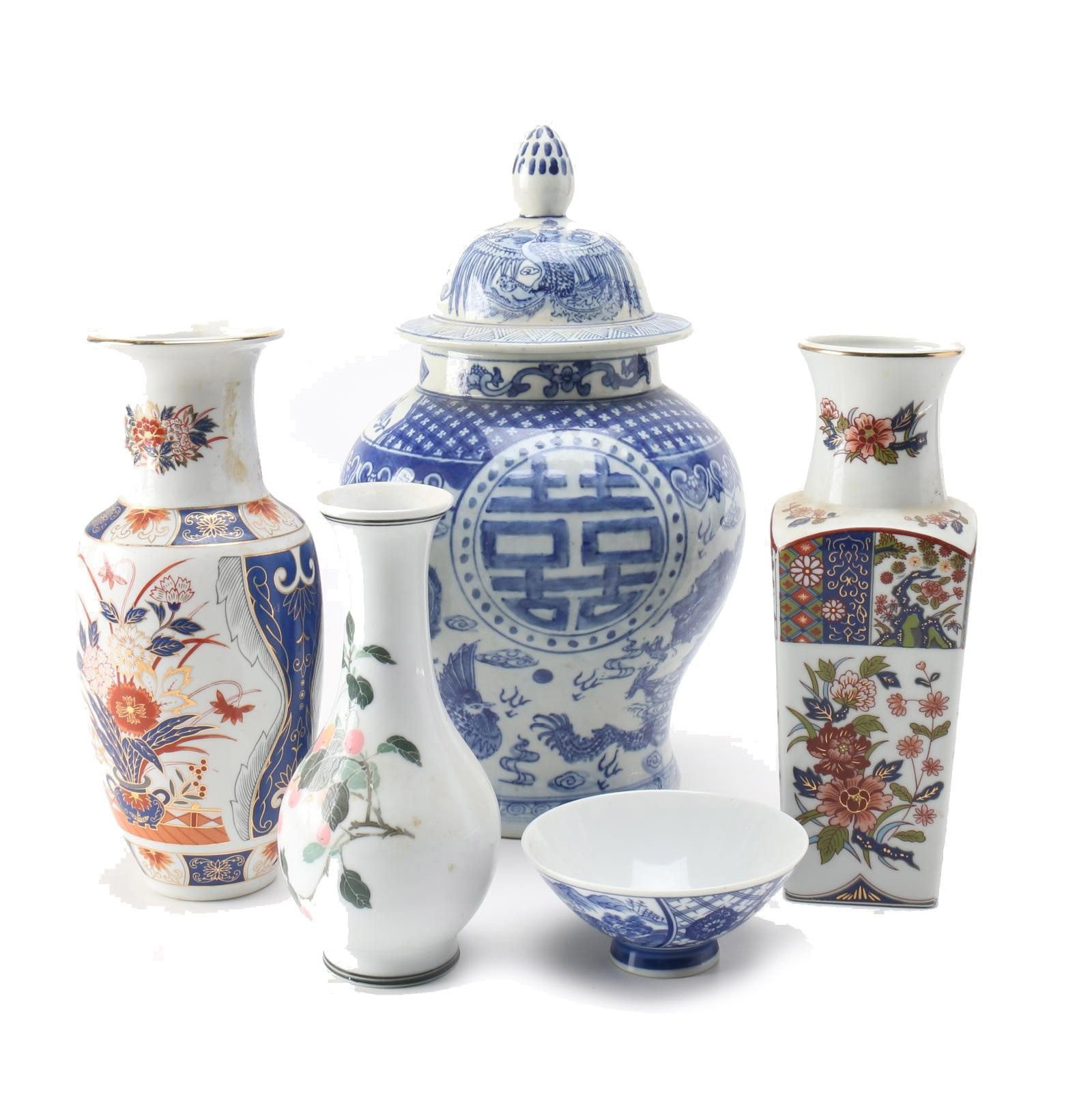 East Asian Hand-Painted Porcelain Items