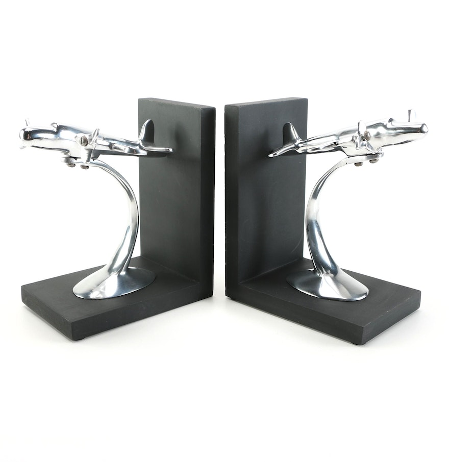 contemporary bookends with airplane theme  ebth - contemporary bookends with airplane theme