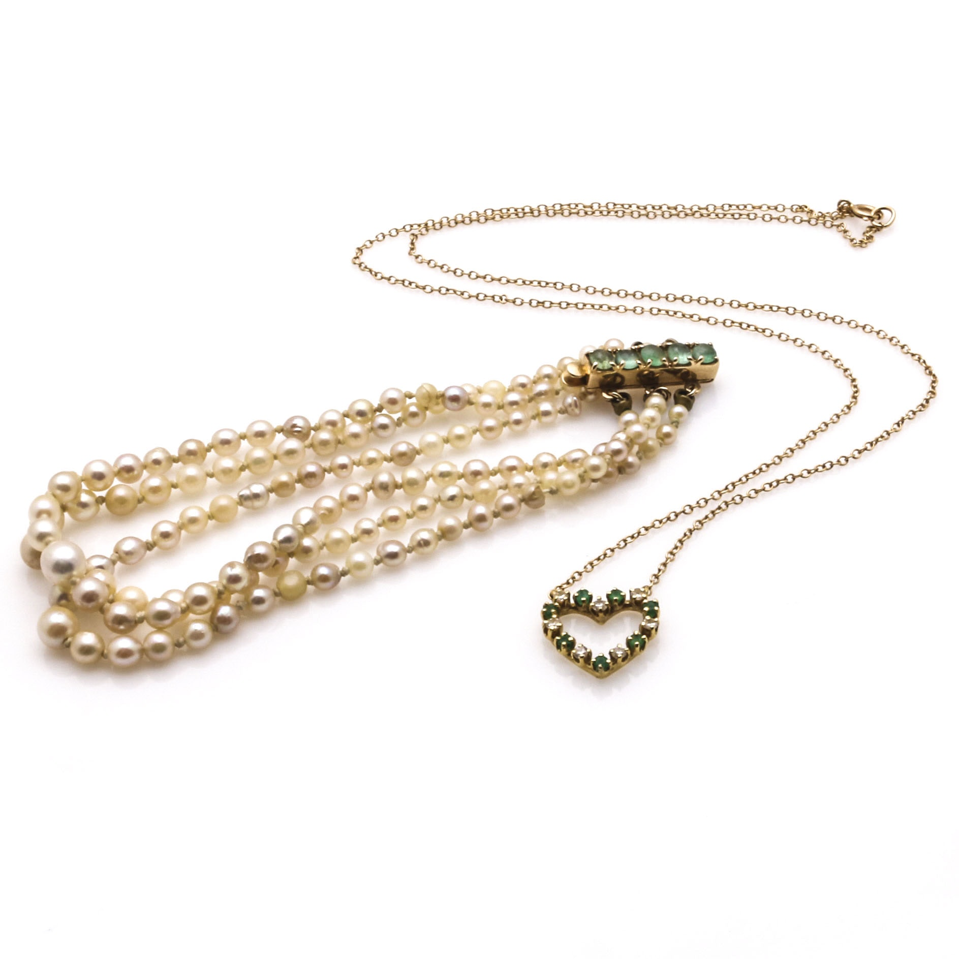 18K and 14K Gold Jewelry with Diamonds, Emeralds, and Pearls