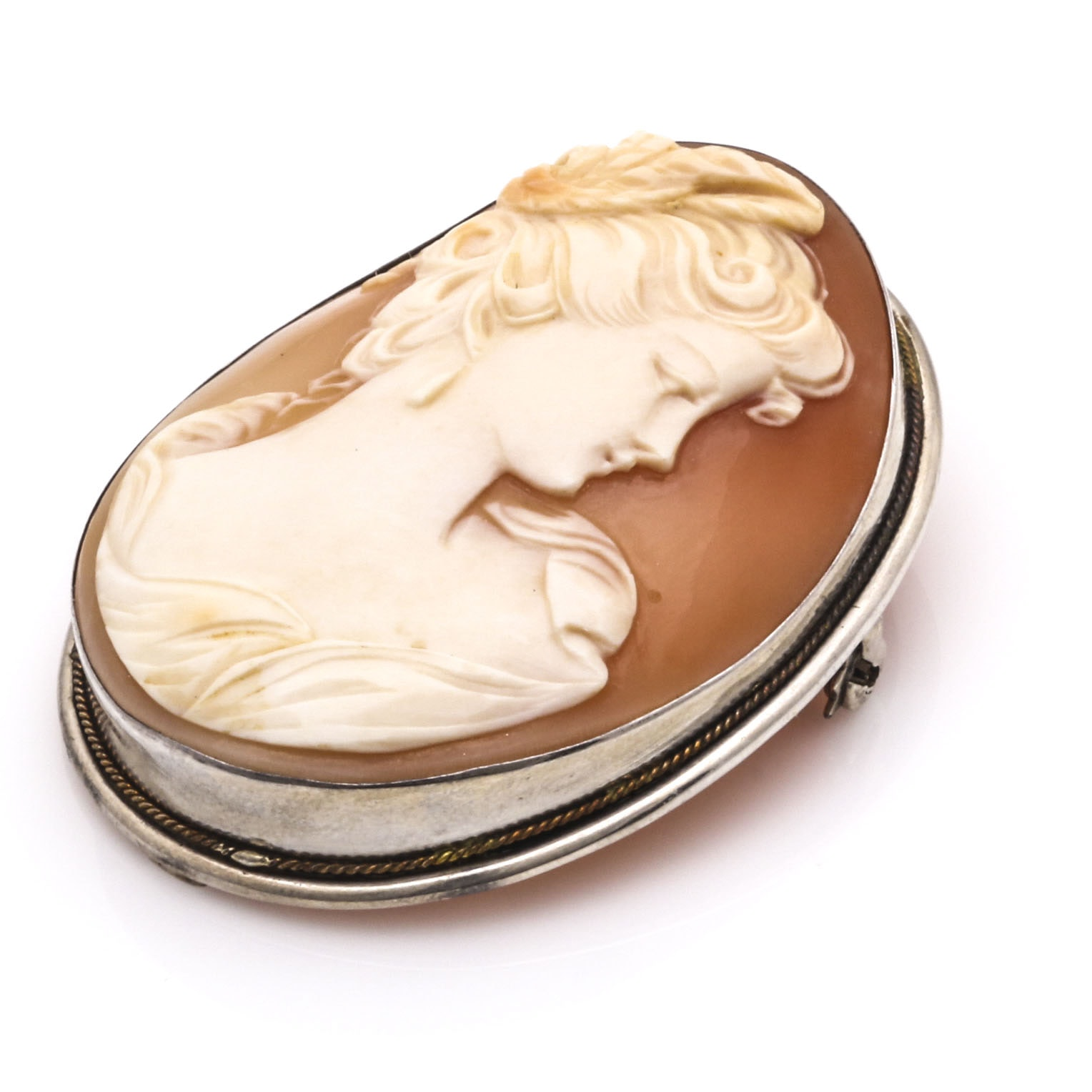 900 Stamped Silver Cameo Pendant Brooch
