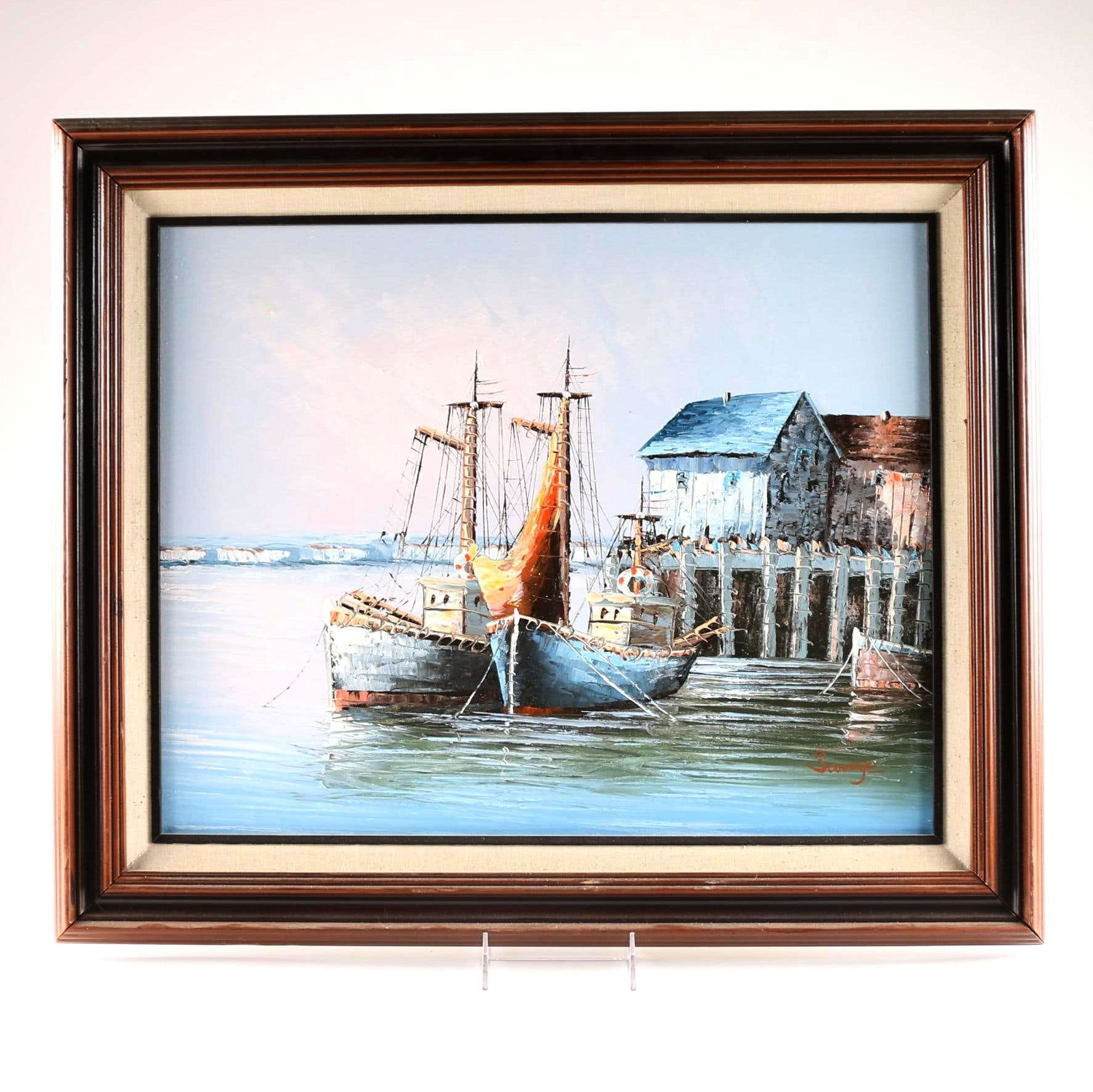 Savage Signed Original Oil Painting of Docked Boats