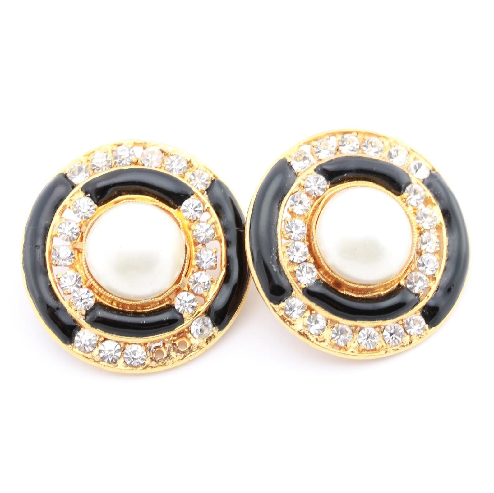 Chanel Rhinestone and Faux Pearl Earrings