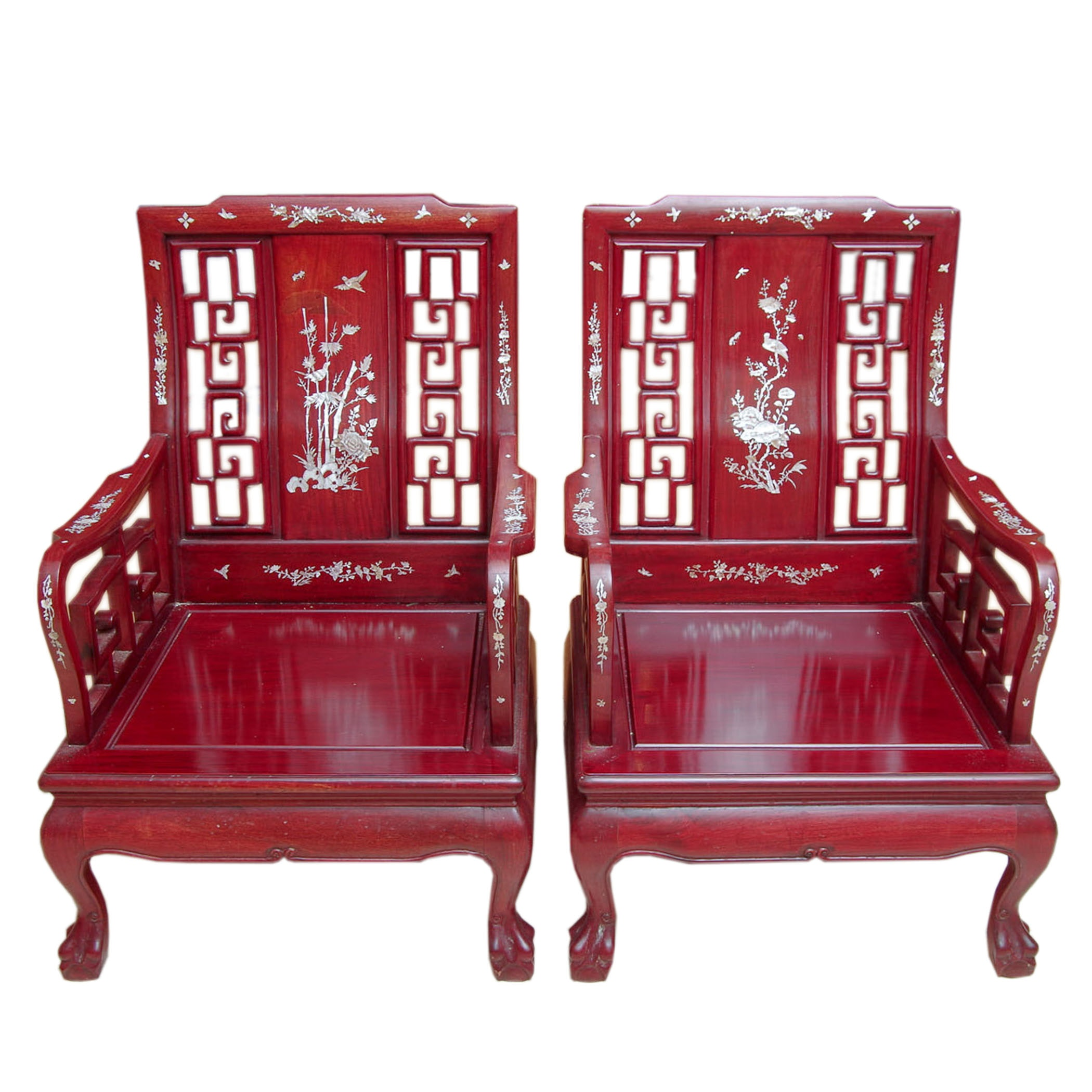 Pair Of Chinese Rosewood Mother Of Pearl Inlaid Chairs ...