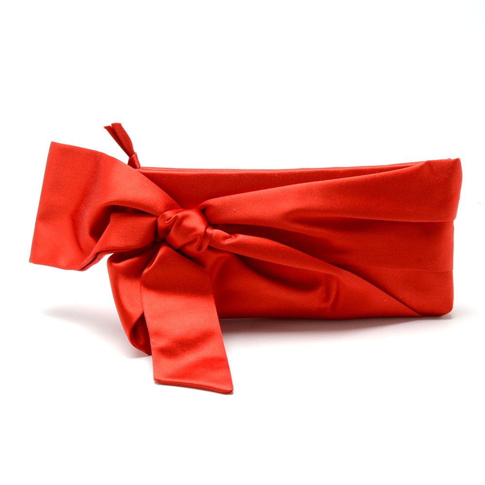 Valentino Garavani Red Satin Bow Clutch