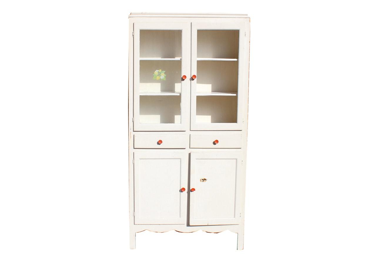 Vintage Painted Oak Kitchen Cabinet