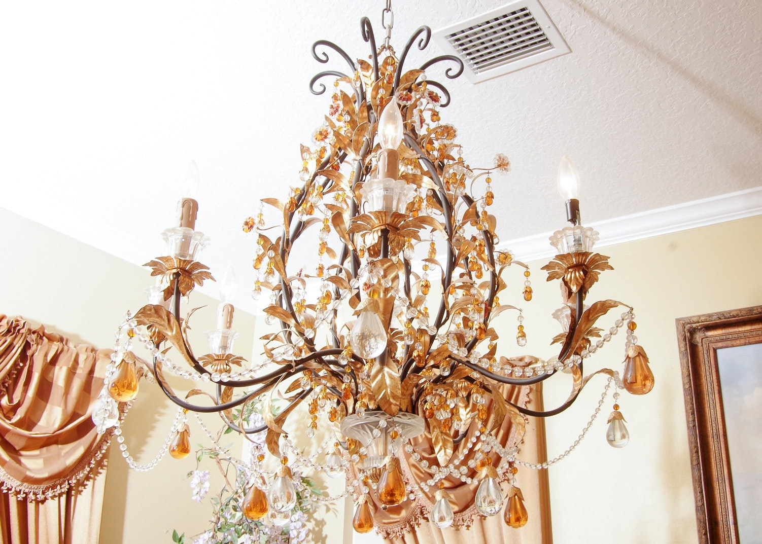 Gold-Toned Leaf and Beaded Floral Chandelier