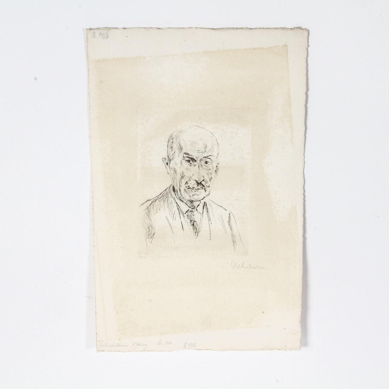 """Max Liebermann Drypoint Etching on Paper """"Selbstbildnis des Fünfundsiebzigjährigen"""""""