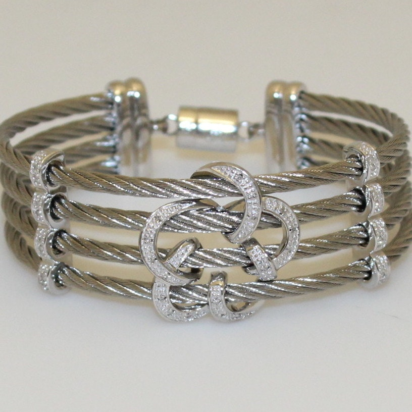 Sterling and Pave Diamond Cable Bracelet