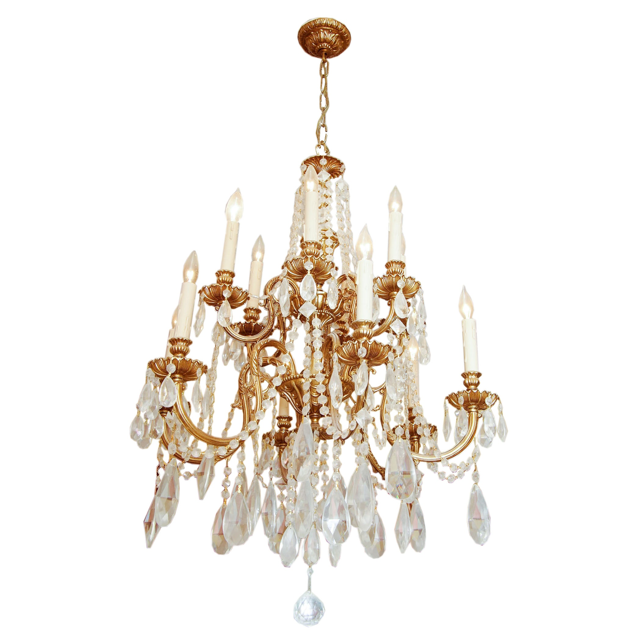 Gilded Chandelier with Crystal Drops