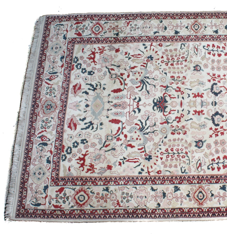 Hand Knotted Persian Tabriz Wool Area Rug Ebth: Hand Knotted Sino Persian Tabriz Rug : EBTH