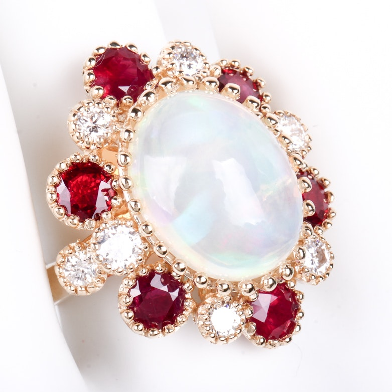 14K Yellow Gold, Opal, Ruby, and 1.20 CTW Diamond Statement Ring