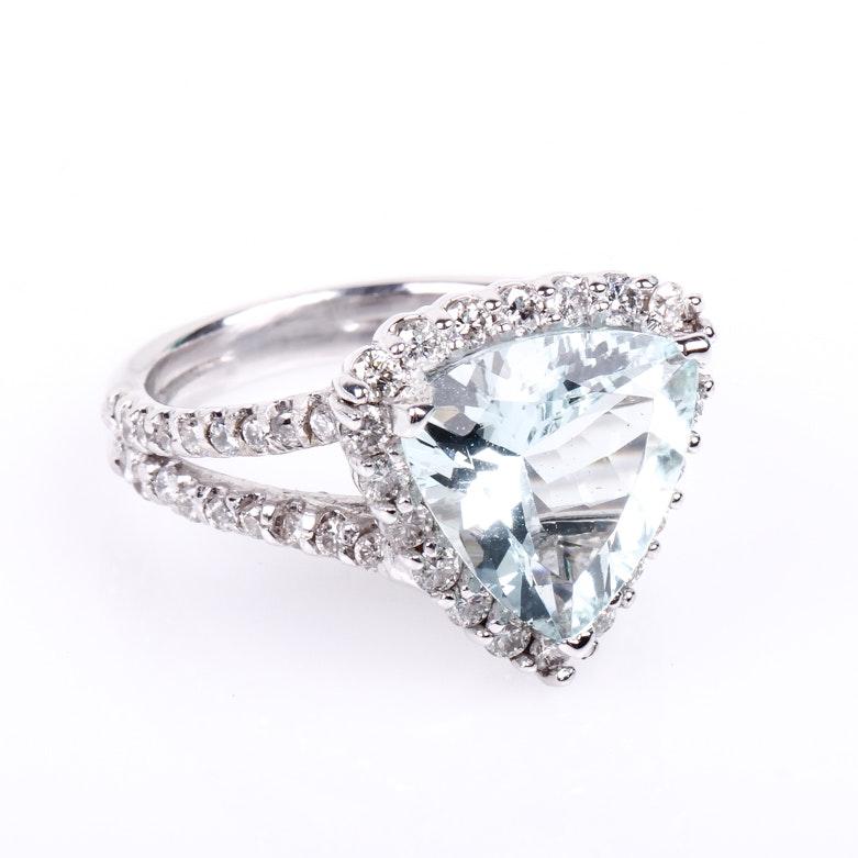 14K White Gold, Trillion Cut Aquamarine, and Diamond Ring