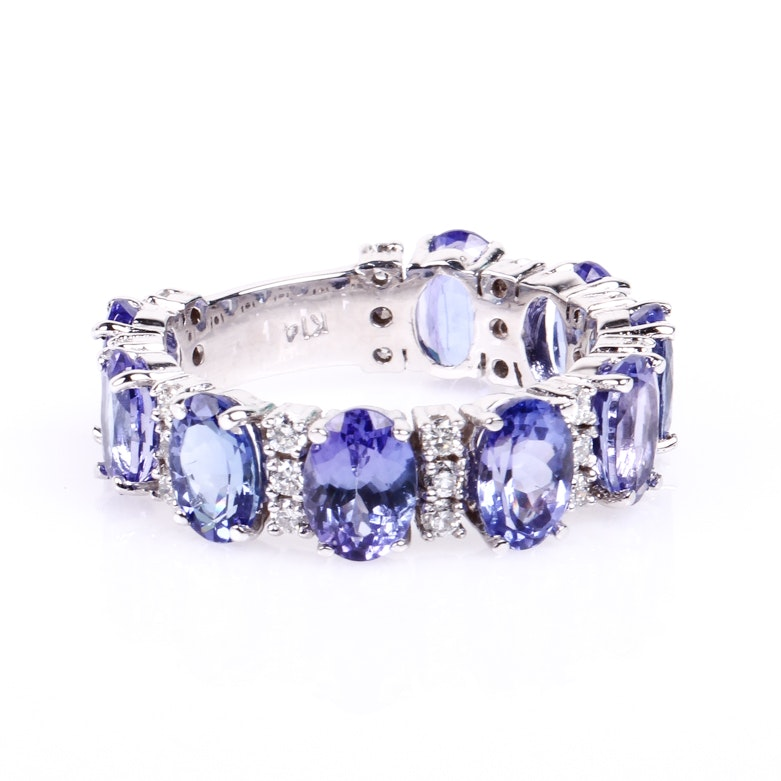 14K White Gold and Tanzanite Band