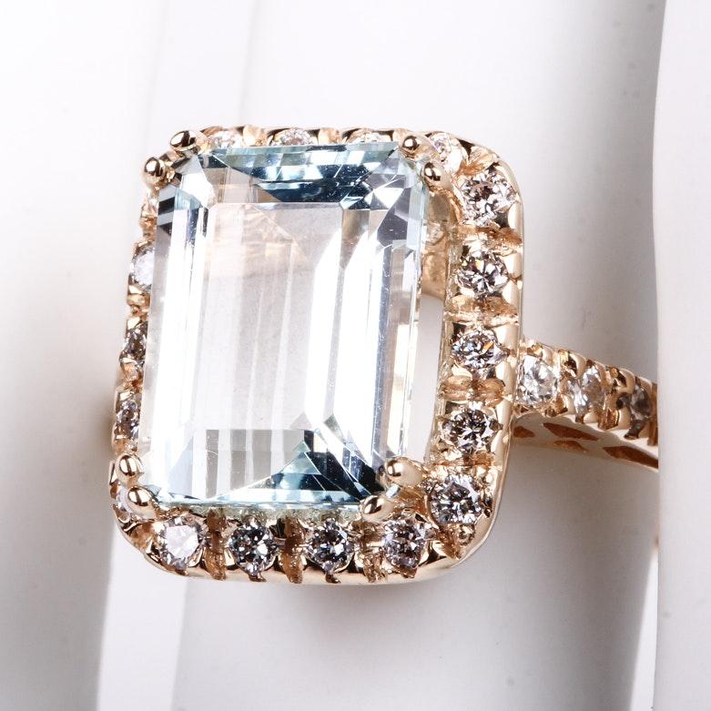 14K Yellow Gold, Aquamarine, and Diamond Cocktail Ring