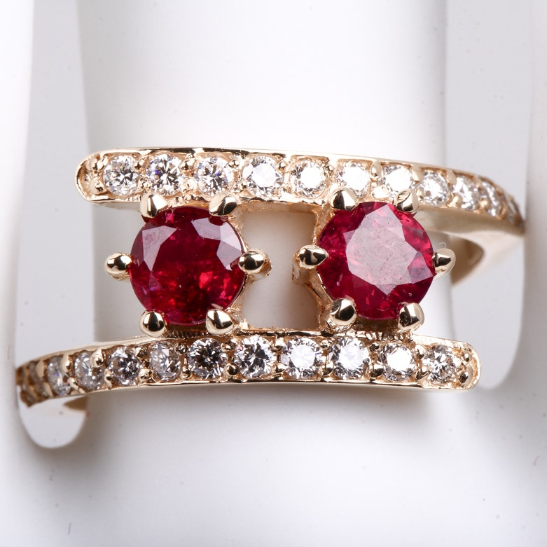 14K Yellow Gold, Diamond, and Twin Ruby Bypass Ring