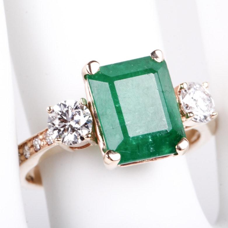 14K Yellow Gold, Emerald, and Diamond Ring