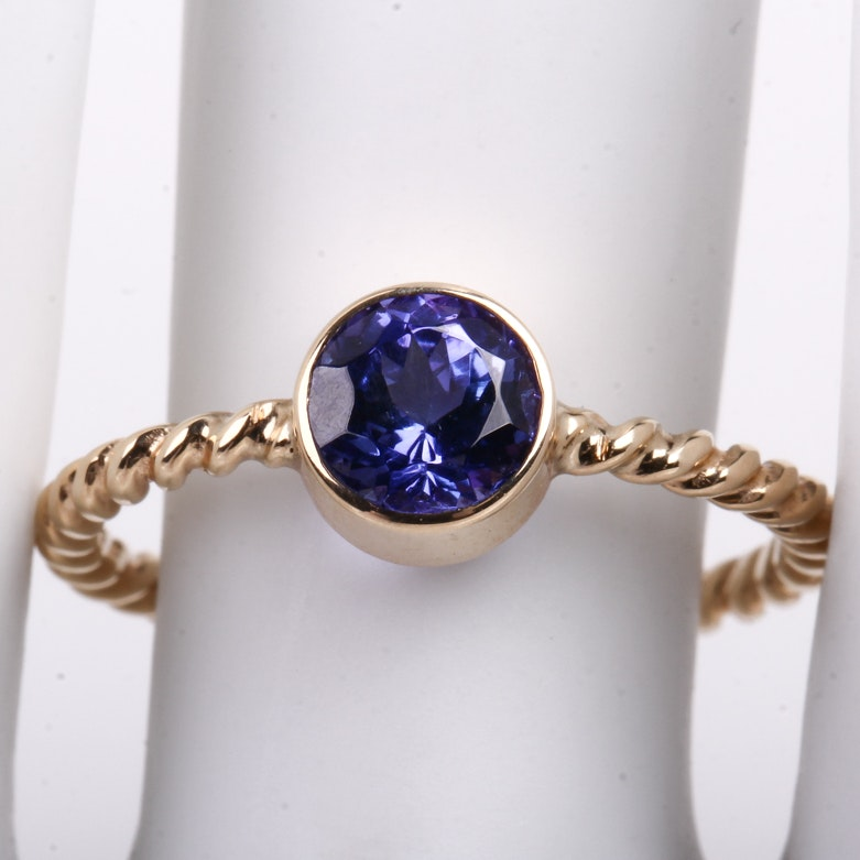 14K Yellow Gold and Tanzanite Solitaire Ring