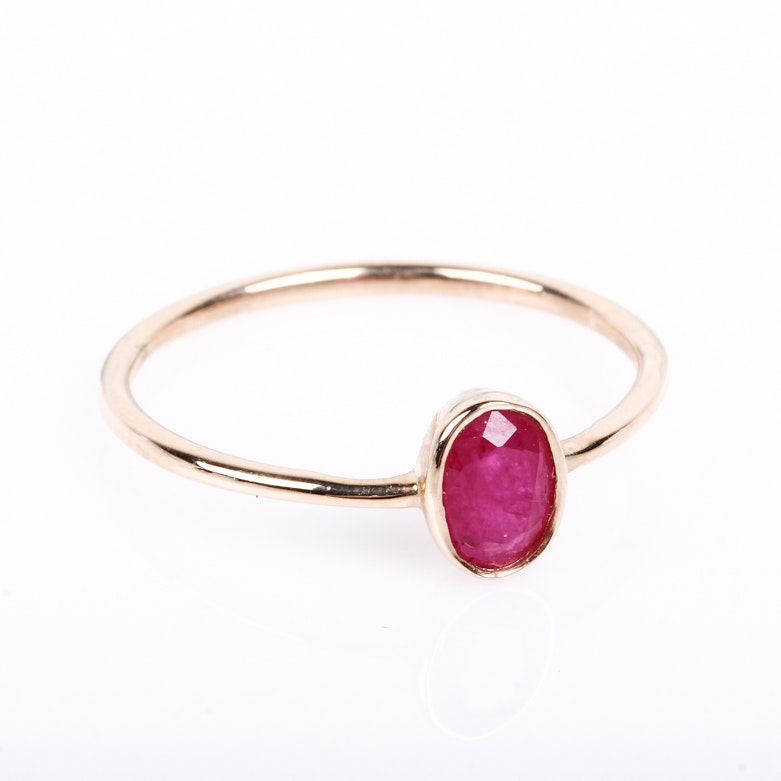 14K Yellow Gold and Ruby Solitaire Ring