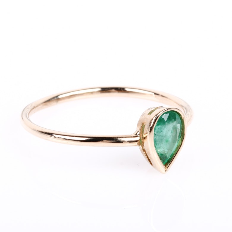 14K Yellow Gold and Bezel Set Emerald Solitaire Ring